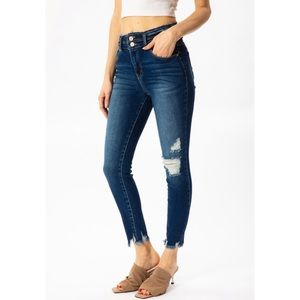 Kan Can USA dark wash ripped & frayed skinny jeans